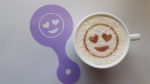 2 x  Smiley heart face coffee cup / cappuccino stencils    reusable many times  cafe Valentines love